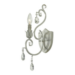 Kenroy Home - Kenroy 92049WW Chamberlain 1 Lt. Wall Sconce - Delicate curves, and a French design, influence give Chamberlain's timeless profile and chic Weathered White finish a matriarchal presence. Attention to detail, and the sparkle of cut glass accents, festoons this regal family.