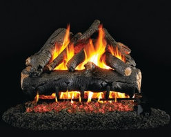 Real Fyre American Oak Vented Gas Log Set - Bring the rich look of American Oak to your indoor direct vent fireplace with a Real Fyre American Oak Vented Gas Log Set. This hand-painted refractory ceramic log set is modeled from real wood samples, with realism, texture, and nuance straight from nature. They burn efficiently while protecting natural resources and reducing pollution, providing real radiant heat for your home. Each is supported by steel rods in the center, and artfully placed about a steel burner and powder-coated grate. Choose 18 or 24 inches to fit your standard direct vent fireplace Choose propane or natural gas power source Silica sand and platinum embers included with every model Optional pilot kit and remote control Manufacturer's lifetime warranty included Heating Output Propane 18-inch: 45,000 BTU Propane 24-inch: 65,000 BTU Natural gas 18-inch: 70,000 BTU Natural gas 24-inch: 90,000 BTU Note: It is recommended that you use a professional installer to ensure the safety of the exhaust system. A licensed contractor should be contacted for installation of all products involving gas lines. About Real FyreReal Fyre understands more about the amazing things that happen when flame and good food meet. For the last 70 years, they've set out to create the singularly best way to cook food outdoors, using the highest-quality materials, innovative design, and an absolutely relentless pursuit of perfection. With a complete line of luxury-grade grills, burners, accessories, and built-in grill island components, Real Fyre is ready to turn your home into the world's best outdoor kitchen.