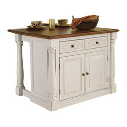 "Home Styles - Home Styles Monarch Kitchen Island with Two Stools - Home Styles - Kitchen Carts - 5020948 - The Monarch Kitchen Island blends upscale design with state-of-the-art functionality.  Stylish design features include a solid hardwood distressed Oak finished top with profiled edges; framed side and back panels; and a multi-step Antiqued White sanded and distressed finish over hardwood solids and engineered wood. Functional elements include two storage drawers and a storage cabinet with four adjustable shelves.  What makes this island really unique is the hidden sliding mechanism connected to the back two shaped and turned posts.  The mechanism provides easy mobility and independent movement of the two posts for expansion of the breakfast bar.  The 15.5"""" breakfast bar extends the top surface from 25"""" to 40.5"""".  Either with the breakfast bar closed or in use this piece has a polished look by being consistently styled on both the approach and working sides.  Constructed of hardwood solids in a multi-step Antiqued White sanded and distressed finish with an distressed Oak finished seat the Monarch Stool perfectly matches the Antiqued White Monarch Kitchen Island.  Seat height measures 24"""".  Three piece set includes the kitchen island and two stools"