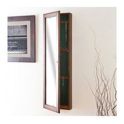 Billock Wall-Mount Jewelry Mirror, Warm Walnut - I actually have this jewelry cabinet in my small closet (in white) and it holds a ton of jewelry and takes up little wall space. I highly recommend it for those jewelry-obsessed women like me.