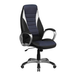 Flash Furniture - Flash Furniture High Back Vinyl Office Chair in Black and Blue - Flash Furniture - Office Chairs - CHCX0243HSATGG - If you're looking for a comfortable office chair than you've found it in this Contemporary High Back Swivel Office Chair that features an ergonomically designed seat and back. This chair is attractively designed with blue mesh inserts in the back and seat with vinyl surrounding. The silver nylon base features black caps that prevent feet from slipping.