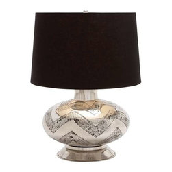 "BZBZ38460 - Designer Metal Table Lamp with Beautiful Zigzag Alternating Lines - Designer Metal Table Lamp with Beautiful Zigzag Alternating Lines. Classic looks and elegant contours are the hallmark of this majestic looking table lamp. The dimensions of the metal table lamp are 14 x 14 X 25. The shade has dimensions of 18 x 17 x 12"". Some assembly may be required."