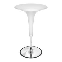 "Lumisource - High-Style Chrome Bar Table - Gelato - These are fun to look at.  Features a chrome base with plastic table top and stem.  These tables are really hard to find!  Bring your bar or restaurant to life with this unique table design, which features a smoothly molded shape and a number of great design properties: adjustable height hydraulics, a built-in foot rest, and a nostalgically retro design.  Its adjustable height is supported by a hydraulic system for added efficiency and an attractive chrome base. Dimensions:*24"" W. x 31"" to 40"" H. Retro design. Pictured in White. Adjustable height hydraulics. Extends from 31 to 40 inches high. Chrome base. Plastic Table top and stem. Retro design combined with adjustable height hydraulics make this bar table functional as well as good looking. Measurements: 24 in.  W  x 31 - 40 in. H"