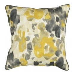 5 Surry Lane - Robert Allen Landsmeer Citrine Yellow Floral Pillow - Soft yet striking in shade and design, you will want one of these watercolor-inspired pillows in every room. And when it's this pretty and versatile, why not?