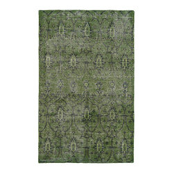 Kaleen Rugs - Restoration Green Rectangular: 5 Ft. 6 In. x 8 Ft. 6 In. Rug - - The Restoration collection puts the finishing touches on a classic reproduction for some of the most unique rugs in the world. Hand-knotted in India of 100% wool, each rug is intentionally distressed by hand-shearing for authenticity, over-dyed colors for beautiful style, and complete with the smallest little details for the perfect replica of a vintage antique rug. A 100% natural green product and completely free of any latex materials  - Classic Reproduction  - Hand-Knotted Antique Replica  - Pile Height: 0.12-Inch  - Square Feet: 46.75  - Cleaning/Care: Spot clean as needed or for best results please contact a local area rug cleaning professional  - Detailed Rug Colors: Emerald and Olive Kaleen Rugs - RES01-50-5686