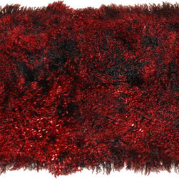 Curly Fur Imports - 2' x 4' Tibetan / Mongolian Lamb Fur Plate (Black W/ Red Tips) - Our luxurious  2' x 4'  modern decorative area rug is offered in our gorgeous real 100% Tibetan / Mongolian lamb fur. It adds a touch of softness, beauty, luxury and warmth to any room. All it takes is one accent to invigorate a room with gentle luxury and rich texture. Tibetan lamb fur is a luxurious fur that is incredibly soft, silky and curly. Plus it has natural properties that will keep you cool in the summer and warm in the winter. Fur length is over 4 inches.