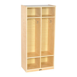 Ecr4kids - Ecr4 Kids Home 2 Section Straight Books Coat Shoes Storage Locker Natural - A 2-section coat locker that accommodates up to 4 children. Add to any coat locker for additional storage or use on its own Each unit features 4 coat hooks, and 2 cubbies above and below for storing shoes, boots, hats, lunchboxes, backpacks and more. Style Notes:  Natural. Colors may vary and are subject to change without notice.