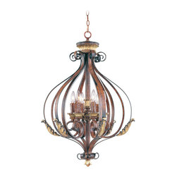 Livex Lighting - Livex Lighting 8557-63 Foyer - Glass Type/Shade Type: Rustic Art Glass