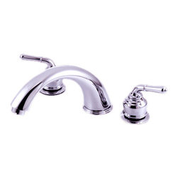 Kingston Brass - Two Handle Roman Tub Filler - This Roman tub filler brings a clean and simple design that will complement any decor. It is constructed of high quality brass and comes in a variety of beautiful finishes to choose from.