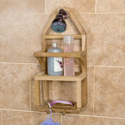 Teak Shower Caddy - Made of teak wood, this durable shower caddy keeps bath accessories organized and easily accessible. It also has two hooks for hand towels or scrubbers.