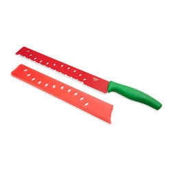 Kuhn Rikon - Kuhn Rikon Watermelon Knife - Cut into the juicy flavors of melons with this Nonstick Watermelon Knife Colori by Kuhn Rikon. Fun and functional, it's unmistakably designed for use with melons, with its green handle and long red blade decorated with a whimsical cut out-seed design. The Kuhn Rikon Melon Knife is large enough to cut through large pumpkins and works great on bread too.
