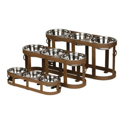Unleashed Life - Tripoli Table- Medium  Feeder - A large rustic dining table is always a precursor to a hearty meal. The Tripoli Table does not disappoint with its three-bowl benefit, allotting for more dogs and more food. Made of weathered iron, three is never a crowd.