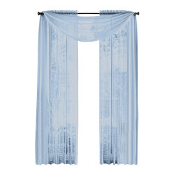 "HLC.ME - HLC.ME  Pair of Sheer Panels Window Treatment Curtains, Baby Blue - Each panel is approximately 54"" wide and 84"" in Length. For a full look use 2 panels to cover a standard size window. This picture shows two sheer panels  this package contains two (2) Sheer Panel. Decorate every window with style and sophistication. Allows natural light to flow through the room . Add a Sheer Scarf for an elegant finished look (not included) . Have pocket insert that create a clean  tailored look. The finishing touch for your window is a beautiful Decorative Curtain Rod (not included)."