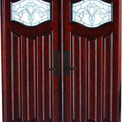 BGW - 6' x 6'8 Mahogany Entry, Paris Design - This door unit is pre-hung, pre-finished and ready for installation. It comes complete with jambs, threshold, weather-stripping, hinges, flush-bolts, interior moldings and exterior brick mold. The glass is beveled with glue chip. Entry hardware is not included.