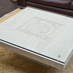 Livingroc - Marble Coffee Table 39 x 39 x 15  Travertine  - ANTICA - to look after your natural stone persian travertine (marble family) to offer you trouble free maintenance.