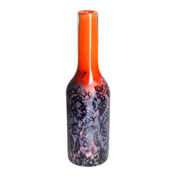 Esque - Lace Vase - Delicate lace has never looked more modern. This handmade glass vase pairs bold colors with vintage pattern for a unique piece of art. The detailed etchings make it pretty enough to stand alone without a single flower stem.