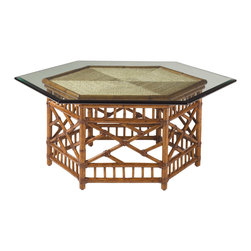 Lexington - Lexington Island Estate Key Largo Cocktail Table with Glass Top 531-947C - The six-sided woven rattan base with leather binding is reflected in the matching angles of the enlarged glass top. Similarly, the woven lampakani is presented in six triangles to replicate yet draw the entire design to a center focal point.
