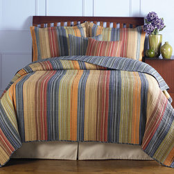 """Greenland Home Fashions - Katy Bonus Quilt Set - Features: -Available in Twin, Full / Queen or King sizes. -Twin set includes one quilt, one sham and one decorative pillow. -Full/Queen and King set includes one quilt, two shams and two decorative pillows. -King set comes with 2 king-sized shams. -Quilt, sham, pillow shell: 100% Cotton. -Pillow filling: 100% Polyester. -Pillow filling: spot clean. -Chic and versatile with warm and cool colors. -Oversized for better mattress coverage. -Intensively quilted for style and durability. -Reverses to a coordinating stripe. -Channel quilting provides a rich surface texture. -With a broad brushstroke of tasteful tones to compliment any bedroom theme. -Easy care machine washable. Specifications: -Twin: 68"""" W x 88"""" D. -Full / Queen: 90"""" W x 90"""" D. -King: 105"""" W x 95"""" D. -Sham: 20"""" W x 26"""" D. -King Sham: 20"""" W x 36"""" D. -Decorative Pillow: 16"""" W x 16"""" D."""