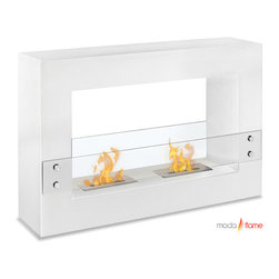 Moda Flame - Moda Flame Alcoi Contemporary  Indoor Outdoor Ethanol Fireplace in White - Designed with a sleek steel powder coated rectangular frame, the Alcoi free standing ethanol contemporary fireplace asserts a bold look with dual burner and tempered glass sheets on either side. The Alcoi allows for an exquisite display of multiple dancing flames.