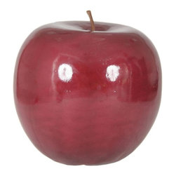 Moes Home Collection - Apple in Red - Glossy fiberstone. Red Color. 20.9 in. L x 20.9 in. W x 22 in. H (17.62 lbs)