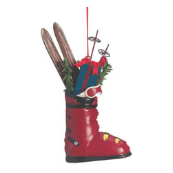 Midwest CBK - Ski Boot with Gifts Christmas Tree Ornament - Winter Skiing Vacation Xmas Gift - Ski Boot Filled with Gifts Christmas Ornament