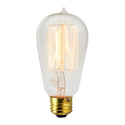 Rejuvenation: Bedroom - This squirrel-cage carbon filament bulb will create lovely, warm, low-light ambience in a bedroom. Various shapes, sizes, and wattages available.