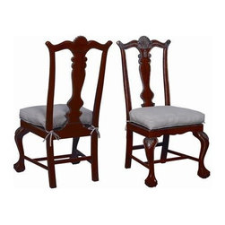 """Guildmaster - Pair of Chippendale Chairs by Guildmaster - A classic Chippendale Chair receives a bold update with it's orange finish. Gold accents highlight the crest rail and knees. Cabriole legs finish in a traditional claw and ball foot. These solid wood dining chairs are sold in pairs and come with a linen fabric cushion. Sold as a pair. (GM) 46.75"""" High x 23.25"""" Wide x 23.5"""" Deep"""