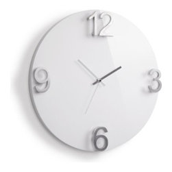 Umbra - Umbra Elapse Wall Clock, High-gloss White - Large, modern Elapse wall clock by Umbra makes a striking addition to any room. With a beautiful high-gloss white finish, this substantial clock features four cast-metal numbers that are raised off the surface, adding sculptural dimension to the minimalist design.