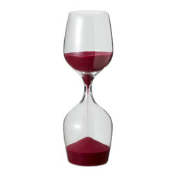 "Modern Wine Glass Sand Timer - A smart design idea that came from a wine glass. Whilst you are leisurely enjoying your wine, this sand clock measures time (15 minutes) - the perfect gift for every wine lover. Dimensions: 3"" diameter, 8.25"" height."