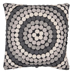 """Surya - Surya CW-056 Mesmerizing Circles Pillow, 22"""" x 22"""", Poly Fiber Filler - Inject a fresh punch of geometric design into your room with this sensationally striking pillow! Covered in small, mesmerizing circles, this piece adds not only fresh texture to your space, but also, a burst of magnetizing color the varying shades of silver sure to liven up your room. This pillow contains a zipper closure and provides a reliable and affordable solution to updating your home's decor. Genuinely faultless in aspects of construction and style, this piece embodies impeccable artistry while maintaining principles of affordability and durable design, making it the ideal accent for your decor."""