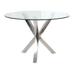 "Moe's Home Collection - Redondo Dining Table - Features: -Redondo collection. -Stainless steel base. -Tempered glass top. -Compatible with 4 seats. -Perfect size for any space. -Dimensions: 29.92"" H x 47.24"" W x 47.24"" D."