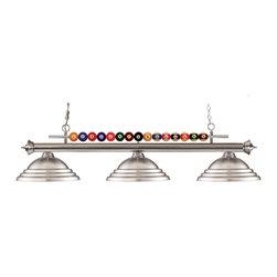 Joshua Marshal - Three Light Brushed Nickel Brushed Nickel Shade Pool Table Light - Finish: Brushed Nickel