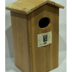 Songbird Essentials - Wood Duck House - Wood duck House. This is one of our largest houses and is designed to provide the wood duck with the proper nesting cavity. In addition to a 3in x 4in oval entry hole and side clean-out, a 6 in hardware cloth strip is stapled to the inside front providing