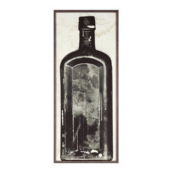 Kathy Kuo Home - Copper River Industrial Loft Bottle Black White Photo Wall Art - E - Framed - Vintage inspired and industrial chic, this high-contrast photograph of an excavated bottle will look so sophisticated on your wall. This stunning black and white shot is available framed or unframed.