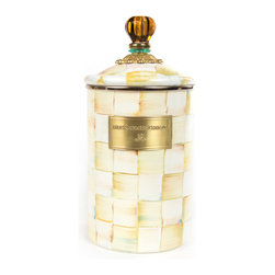 Parchment Check Enamel Canister - Large | MacKenzie-Childs - Who said that practical can't be gorgeous? Fill a set of three Parchment Check™ Enamel Canisters with just about anything you want to keep fresh! Keep them in the kitchen with coffee beans and tea bags, cookies and candies, or dog biscuits and birdseed—or invent new uses around the house. Perfect for cotton balls and swabs in the bathroom, pens and pencils in the office, or knickknacks and doodads in the kids' room. Available in small, medium, and large, each is hand-painted with Parchment Check™ and topped off with an elegant glass knob.