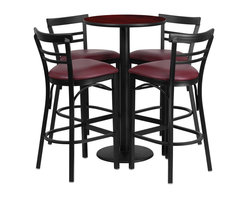 Flash Furniture - Flash Furniture Restaurant Furniture Table and Chairs X-GG-8301BRSR - 24'' Round Mahogany Laminate Table Set with 4 Ladder Back Metal Bar Stools - Burgundy Vinyl Seat [RSRB1038-GG]