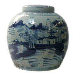 Golden Lotus - Chinese Blue White Porcelain Large Ginger Jar Hcs601-1 - This is a decorative piece and collected from different places, the color and details varies from one to one. The bottom mark is different. But overall the design is almost the same.