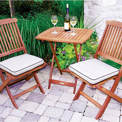 Outdoor Interiors - Tan Seat Cushion and 3-piece Square Bistro Set - This beautiful square bistro set is made of durable, sustainable eucalyptus hardwood with tan and black seat cushions. This 3-piece patio furniture set includes a table and two chairs in the perfect size to tuck into a corner of your garden or patio.