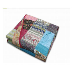 Greenland - Greenland New Bohemian Accessory Throw - A collage of retro and modern fabrics assembled in patchwork construction, the New Bohemian quilted throw delivers authentic global styling.