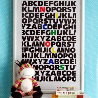 ABC Kids Custom Name Print Primary Colors by jenniferramos on Etsy - This adorable poster can be customized for the needed name.