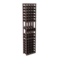 Wine Racks America - 4 Column Display Row Wine Cellar Kit in Redwood, Walnut Stain + Satin Finish - Make your best vintage the focal point of your wine cellar. Four of your best bottles are presented at 30° angles on a high-reveal display. Our wine cellar kits are constructed to industry-leading standards. Youll be satisfied with the quality. We guarantee it.