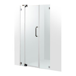 "VIGO Industries - VIGO 48-inch Frameless Shower Door 3/8"" Hardware, Clear/Brushed Nickel - Experience fine quality combined with superior design in a VIGO frameless shower door. Single water deflector redirects water toward the inside of the shower. Side and door clear seals keep the shower watertight between wall and glass door or fixed panel."