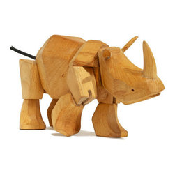 Areaware - Areaware Simus the Rhino - Simus's powerful hardwood frame can hold many poses, and his elastic-band muscles and durable wood limbs make him almost impervious to breakage. An enduring classic that will withstand generations of play.