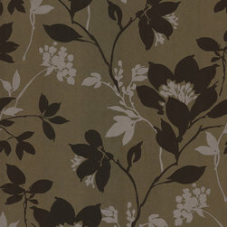Kenneth James - Salon Silhouette Floral Wallpaper - Let your walls gleam with the dark beauty of an enchanted garden, when you adorn them with this ethereally lovely floral silhouette design. The brass backdrop of this nonwoven wallpaper really shimmers against the matte brown and cream flowers, creating an overall effect of intrigue and elegance for your decor.