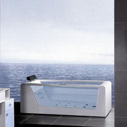 "Ariel - Luxury Contemporary Bathroom - Ariel AM15270 70"" Whirlpool Bathtub With Inline Heater, Drainage Device, Waterfall Cascade Style Water Inlet, Sydney Whirlpool System & Drainage Device"