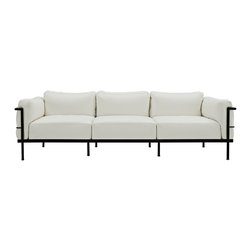 """LexMod - Charles Grande Leather Sofa in White - Charles Grande Leather Sofa in White - Urban life has always a quandary for designers. While the torrent of external stimuli surrounds, the designer is vested with the task of introducing calm to the scene. From out of the surging wave of progress, the most talented can fashion a forcefield of tranquility. Perhaps the most telling aspect of the Charles series is how it painted the future world of progress. The coming technological era, like the externalized tubular steel frame, was intended to support and assist human endeavor. While the aesthetic rationalism of the padded leather seats foretold a period that would try to make sense of this growth. The result is an iconic sofa series that became the first to develop a new plan for modern living. If previous generations were interested in leaving the countryside for the cities, today it is very much the opposite. If given the choice, the younger generations would rather live freely while firmly seated in the clamorous heart of urbanism. The Charles series is the preferred choice for reception areas, living rooms, hotels, resorts, restaurants and other lounge spaces. Set Includes: One - LC3 Leather Sofa Mid-Century Modern Sofa, Genuine Leather Seating Surface, Tubular Stainless Steel Frame, Foot caps to prevent scratching Overall Product Dimensions: 30""""L x 79.5""""W x 27.5""""H Seat Dimensions: 19.5""""L x 21.5 - 79.5""""W x 16""""H Armrest Dimensions: 10""""W x 24""""HBACKrest Dimensions: 25.5""""W x 11.5""""H Space Between Armrest and Seat: 8""""H Cushion Thickness: 9""""Hbrase Dimensions: 30""""L x 90.5""""W - Mid Century Modern Furniture."""