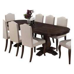 "Jofran - Jofran 634-102 Dining Table with Butterfly Leaf - Decorate your home with the luxury that you desire, by adding this classic table to your dining room setting. Designed to create a look of new traditional elegance, this piece features two turned pedestals in the classic movement style with a smooth table top that can extend from 80"" to 102"" in length. Pair this piece with its matching side chairs for a complete set."