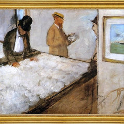 """Edgar Degas-16""""x20"""" Framed Canvas - 16"""" x 20"""" Edgar Degas Cotton Merchants in New Orleans framed premium canvas print reproduced to meet museum quality standards. Our museum quality canvas prints are produced using high-precision print technology for a more accurate reproduction printed on high quality canvas with fade-resistant, archival inks. Our progressive business model allows us to offer works of art to you at the best wholesale pricing, significantly less than art gallery prices, affordable to all. This artwork is hand stretched onto wooden stretcher bars, then mounted into our 3"""" wide gold finish frame with black panel by one of our expert framers. Our framed canvas print comes with hardware, ready to hang on your wall.  We present a comprehensive collection of exceptional canvas art reproductions by Edgar Degas."""
