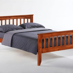 """Night and Day - Night and Day Sarsaparilla Panel Bed - ND371 - Shop for Daybeds from Hayneedle.com! You can't help but have fun when you say """"sarsaparilla"""" and you also can't help but plan to bring home the Night and Day Sarsaparilla Panel Bed as soon as you lay eyes on it. The straight top edge of the head and footboards are complemented by the gentle curve and wide slats all of which are crafted from high-quality hardwoods in your choice of traditional finishes. This bed is available in both full and twin size but there are some more options that will definitely sweeten the deal. Utilizing the ample space beneath the bed we have an optional rolling storage kit or a trundle bed each of which can roll smoothly in and out while echoing the overall style of the bed. The storage kit offers two deep rolling drawers and the trundle bet lets you put an entire mattress beneath the bed for those last-minute slumber-parties or visiting relatives. The same high-quality construction and finishes are offered with these options because you should never compromise looks for function.Twin Bed Dimensions: 57W x 80.6D x 37.4H inchesFull Bed Dimensions: 57W x 80.6D x 37.4H inchesTrundle Storage Dimensions: 37.9W x 20.58D x 13.58H inchesAbout Night and Day FurnitureOne of the fastest-growing futon sellers in America Night and Day Furniture offers a broad range of stylish and well-made futon and bedroom collections. Their goal is to provide you with furniture that is functional useful and stylish - furniture they would want in their own homes. In addition to their innovative Shoe Fittings futon operating system they continue to develop their line of easy-to-operate futons and expand their solidly built bedroom collections."""
