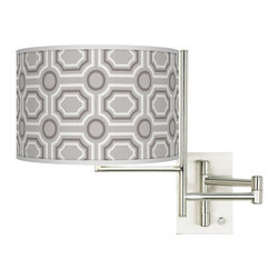 "Giclee Glow - Contemporary Tempo Luxe Tile Plug-in Swing Arm Wall Light - Give your decor a contemporary lift with this giclee shade swing arm wall light. The shade's pattern is printed onto canvas using the giclee technique. The canvas is then applied to a shade form. The base features a contemporary brushed steel finish and a 26"" arm extension. U.S. Patent # 7347593. Brushed steel finish. Dimmer switch on base. Takes one 100 watt bulb (not included). Backplate is 4 1/2"" wide 6 1/2"" high and 1"" deep. Shade is 12"" wide and 8 1/2"" high. 14"" high. Extends 26"" from the wall.  Brushed steel finish.  Dimmer switch on base.  Maximum 100 watt or equivalent bulb (not included).  Backplate is 4 1/2"" wide 6 1/2"" high and 1"" deep.  Shade is 12"" wide and 8 1/2"" high.  14"" high.  Extends 26"" from the wall."
